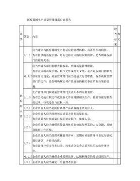 医疗器械生产质量管理规范内审检查表.doc