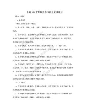 北师大版五年级数学下册总复习计划.doc