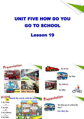 UNIT FIVE HOW DO YOU GO TO SCHOOL Lesson 19 精品课件4.ppt
