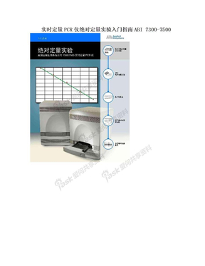 实时定量PCR仪绝对定量实验入门指南ABI 7300-7500.doc