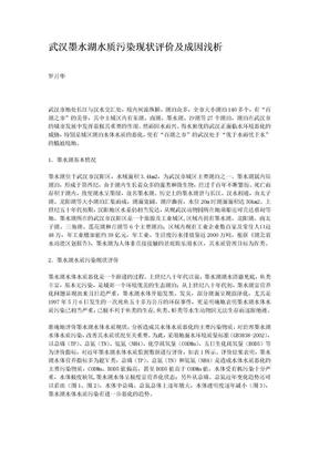 武汉墨水湖水质污染现状评价及成因浅析.doc