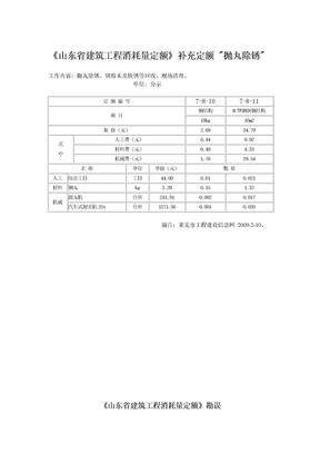 山东省建筑工程消耗量定额补充定额----抛丸除锈.doc