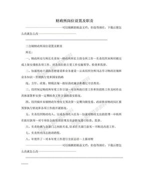 财政所岗位设置及职责.doc