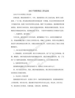 2017年村普法工作总结.doc