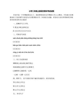 小学二年级上册语文期末考试试题.docx