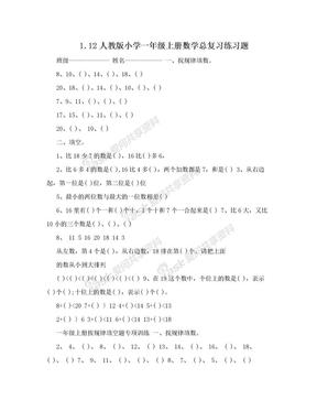 1.12人教版小学一年级上册数学总复习练习题.doc
