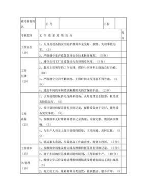 电工绩效考核一览表.doc