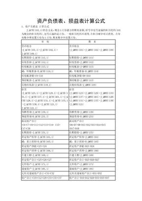 资产负债表公式.doc