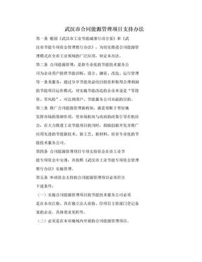 武汉市合同能源管理项目支持办法.doc