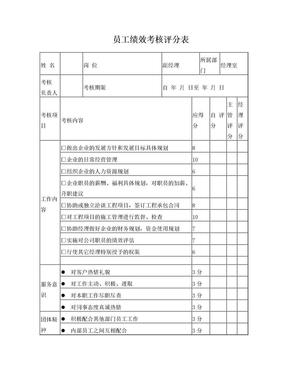 建筑公司绩效考核评分表.doc