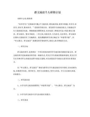 群文阅读个人研修计划.doc
