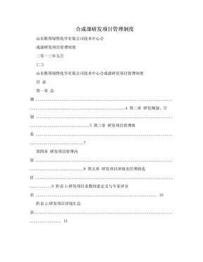 合成部研发项目管理制度.doc