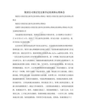 集团公司基层党支部书记培训班心得体会.doc