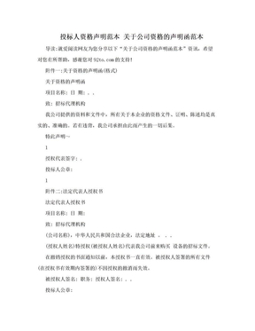 投标人资格声明范本 关于公司资格的声明函范本.doc
