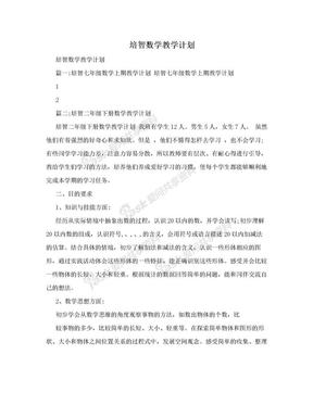 培智数学教学计划.doc