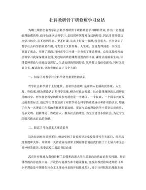 社科教研骨干研修班学习总结.doc