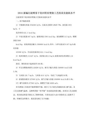 2016新编污泥喷雾干化回转窑焚烧工艺的真实能耗水平.doc