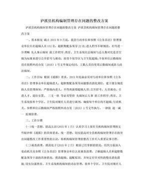 泸溪县机构编制管理存在问题的整改方案.doc