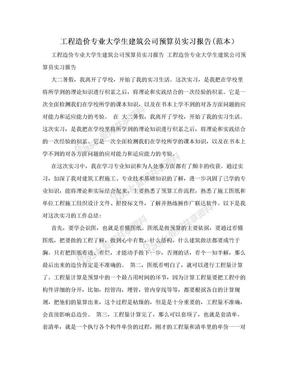 工程造价专业大学生建筑公司预算员实习报告(范本).doc