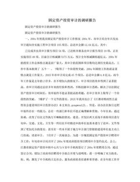 固定资产投资审计的调研报告.doc