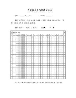 食堂从业人员晨检记录表.doc