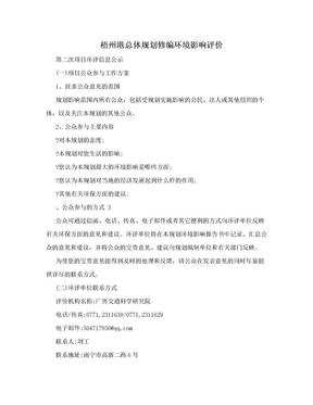 梧州港总体规划修编环境影响评价.doc