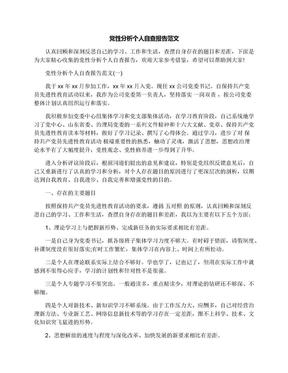 党性分析个人自查报告范文.docx