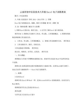 云南省初中信息技术八年级Excel电子表格教案.doc