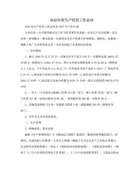 电站年度生产经营工作总结.doc