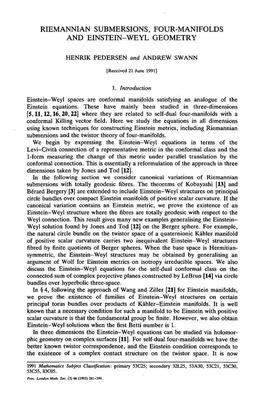 Riemannian submersions, four-manifolds and Einstein-Weyl geometry.PDF