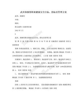 武术体操馆职业健康安全目标、指标及管理方案.doc