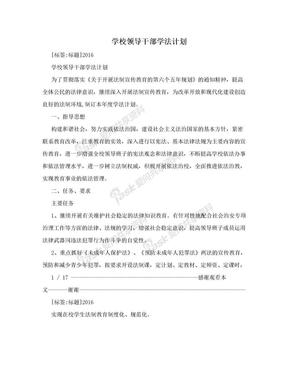 学校领导干部学法计划.doc
