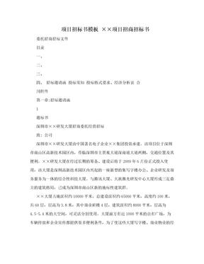 项目招标书模板 ××项目招商招标书.doc