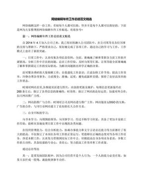 网络编辑年终工作总结范文精选.docx