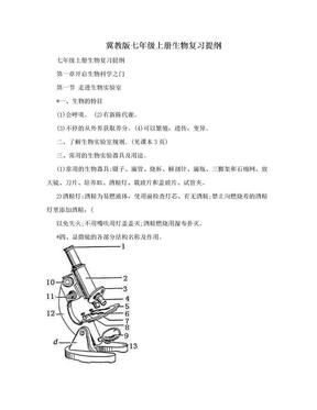 冀教版七年级上册生物复习提纲.doc