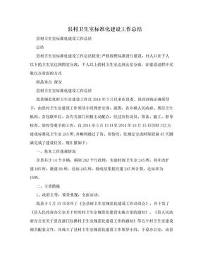 县村卫生室标准化建设工作总结.doc