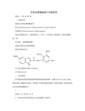 泮托拉唑钠肠溶片申报资料.doc