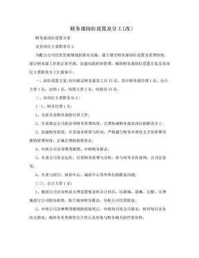 财务部岗位设置及分工(改).doc