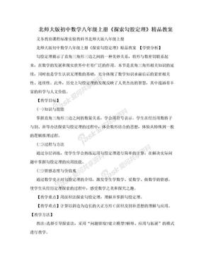 北师大版初中数学八年级上册《探索勾股定理》精品教案.doc