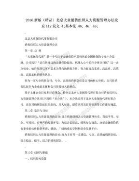 2016新版(精品)北京大童销售组织人力资源管理办法北京112发文  4;基本法  46;  46;  46;.doc