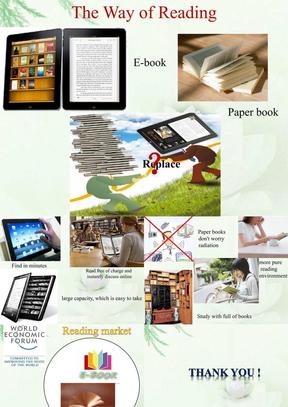 关于电子书与纸质书的英语演讲PPT.ppt