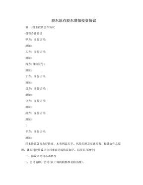 股东原有股东增加投资协议.doc