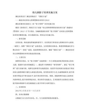 幼儿园影子培训实施方案.doc