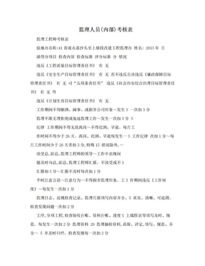 监理人员(内部)考核表.doc