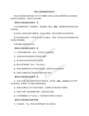 网站文案策划岗位说明书.docx