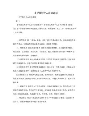 小学教师个人培训计划.doc