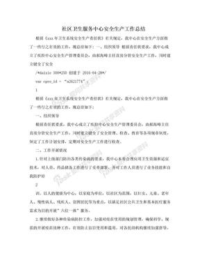 社区卫生服务中心安全生产工作总结.doc