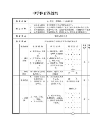 中学体育课教案.doc
