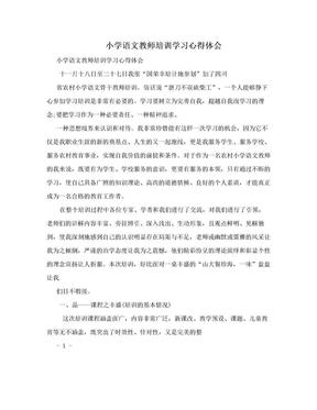 小学语文教师培训学习心得体会.doc
