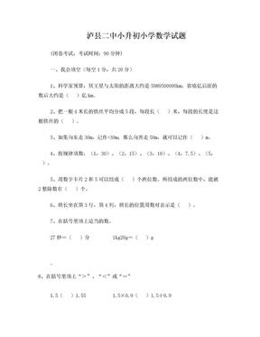 泸县二中小升初数学考试题.doc